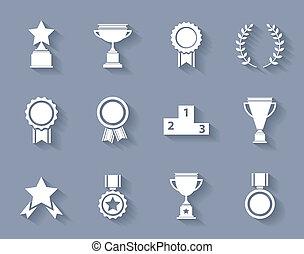 successo, set, premio, icone, vittoria