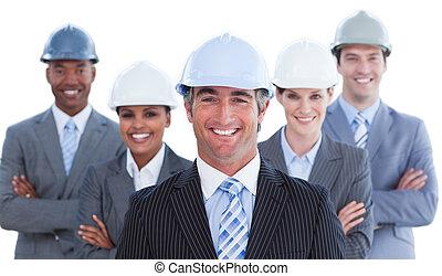 succesvolle , architect, vorm een team portret