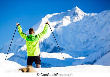 succesvolle , de wandeling van de mens, in, himalaya, bergen, in, nepal