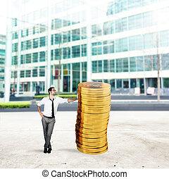 succesvolle , geld, stapel, zakenman