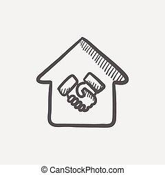 succesvolle , huisvesting, transactie, schets, pictogram