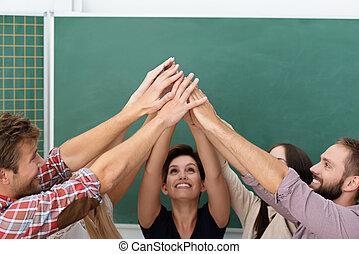 succesvolle , klaslokaal, teamwork