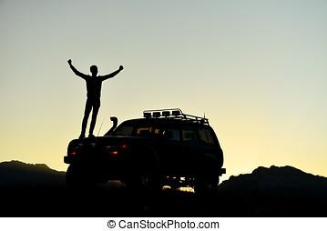 succesvolle , land, avontuur, voertuig