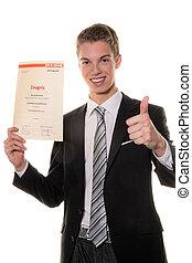 succesvolle , man, examen, jonge, eind-