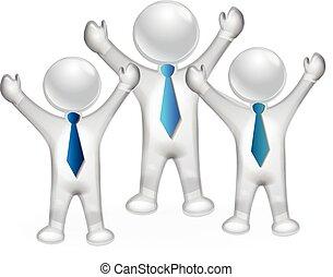 succesvolle , mensen, 3d, vector, vrolijke