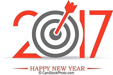 succesvolle , nieuw, 2017, symbool, jaar