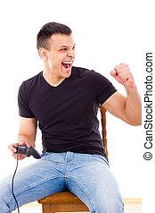 succesvolle , spel, computerbedieningshendel, spelend, man