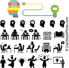 succesvolle , studeren, set, pictogram