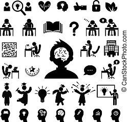 succesvolle , studeren, set, symbool