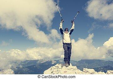 succesvolle , vieren, stijgen, klimmer, vrouwlijk