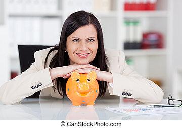 succesvolle , vrouw, bank, piggy, haar