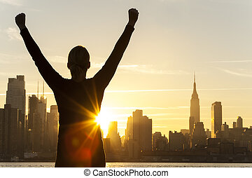 succesvolle , vrouw, zonopkomst, new york stad skyline