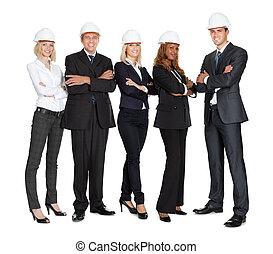 succesvolle , werkmannen , bouwsector, witte , team