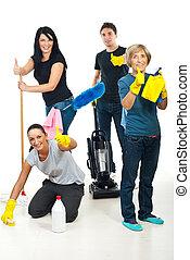 succesvolle , werkmannen , teamwork, poetsen