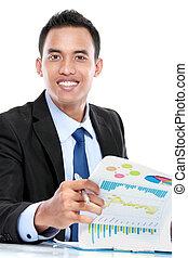 succesvolle , zakenman, doorwerken, rapport