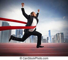 succesvolle , zakenman, eindigende lijn