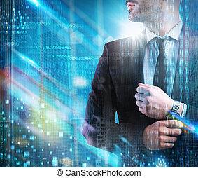 succesvolle , zakenman, futuristisch, visie