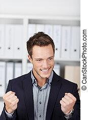 succesvolle , zakenman, jonge, kantoor