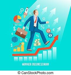 succesvolle , zakenman, symbolisch, plat, poster