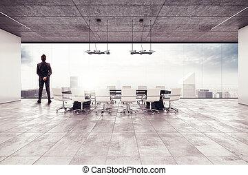 succesvolle , zakenman, vergaderruimte