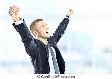 succesvolle , zakenman, vieren, -, vrijstaand, op, een,...