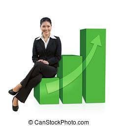 succesvolle , zakenmens , zittende , op, grafiek