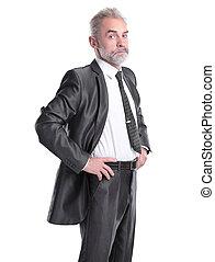 succesvolle , zeker, zakenman, kijken naar, de, camera.isolated, op wit