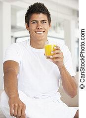 succo arancia, bere, giovane