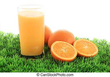 succo arancia, frutta, erba