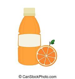 succo arancia, frutta, icona