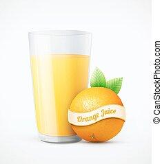 succo arancia, frutta, vetro