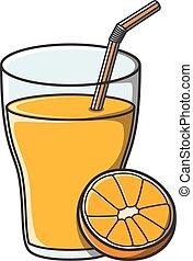 succo arancia, illustrazione, scarabocchiare