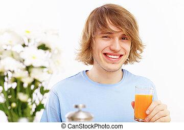 succo, bere, giovane