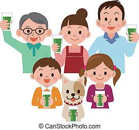 succo, famiglia, verdura, bere