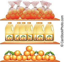 succo, fresco, arance, mensole