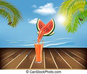 succo, fresco, spiaggia, tavola