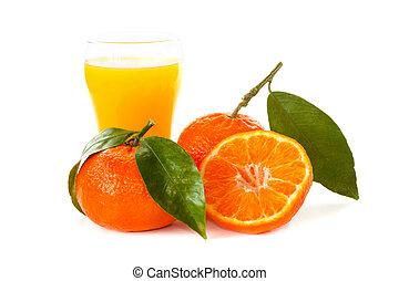 succo, mandarini, vetro