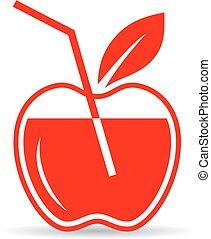 succo, mela, icona