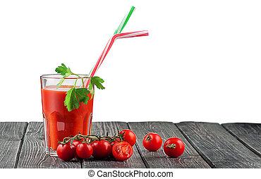 succo pomodoro, bastone, vetro cocktail
