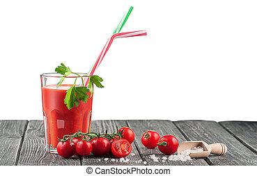 succo pomodoro, tavola, legno, vetro