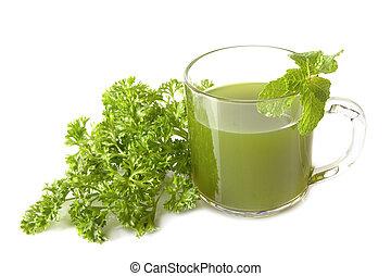 succo, prezzemolo, verdura verde, sano