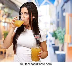 succo, ragazza, bere, giovane