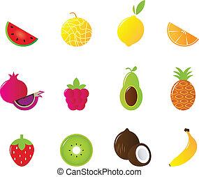 succoso, frutta, icone, set, isolato, bianco