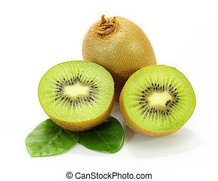 succoso, frutta kiwi, bianco, fondo