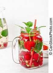 succoso, ribes, bevanda, fresco, maturo, fresco, ciliegia, uva spina, bacche, fragola