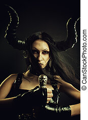 Succubus with sword - Pretty horned devil with sword over...