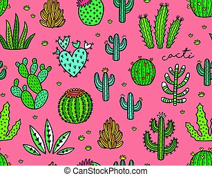 Succulent colorful seamless pattern. Hand drawn vector ...