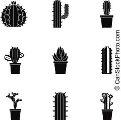 Succulent icon set, simple style