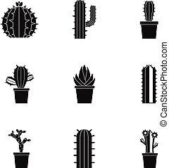 Succulent icon set, simple style