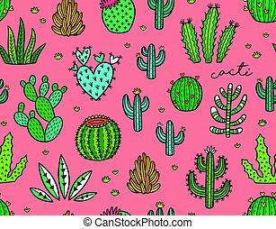 succulent, kleurrijke, seamless, pattern., hand, getrokken,...